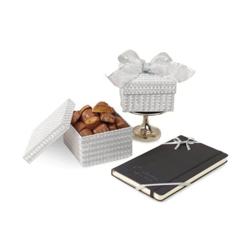 Moleskine® Notebook & Sparkling Almond Butter Toffee Gift Box Black-Silver