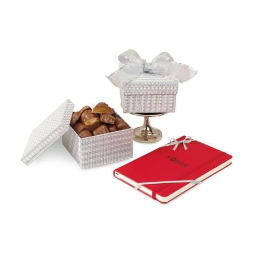Moleskine® Notebook & Sparkling Almond Butter Toffee Gift Box Red-Silver