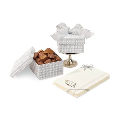 Moleskine® Notebook & Sparkling Almond Butter Toffee Gift Box White-Silver
