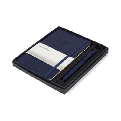 Moleskine® Medium Notebook and GO Pen Gift Set - Navy Blue